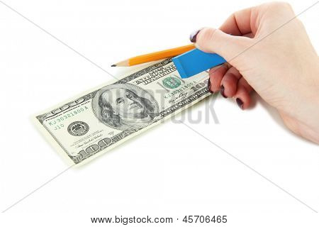 Making fake dollar isolated on white