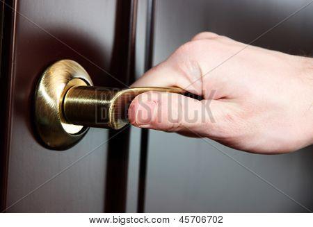 Someone opens door close-up