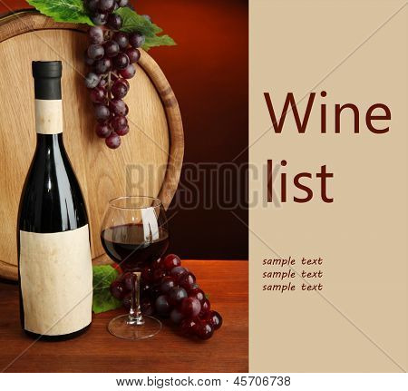 Composition of wine, wooden barrel and  grape, on dark red background