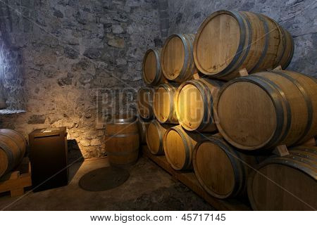 European wine barrels in underground cellar
