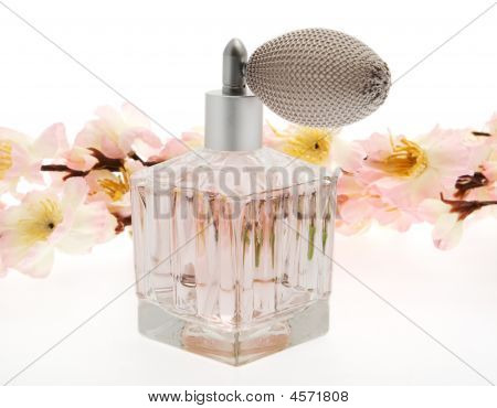 Perfume, Pink Bottle With Cherry Blossoms
