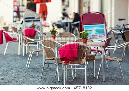 Outdoor restaurant in old european town