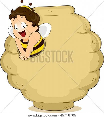 Illustration of Baby Boy dressed as a Bee in a Beehive Blank Board