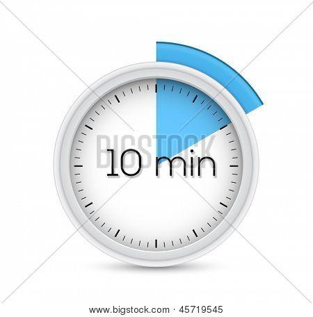 Cronómetro de diez minutos. Ilustración del vector.