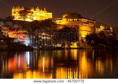 City Palace and Pichola lake at night, Udaipur, Rajasthan, India