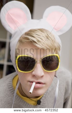 Funny Portrait Of Young Man In Funny Glasses