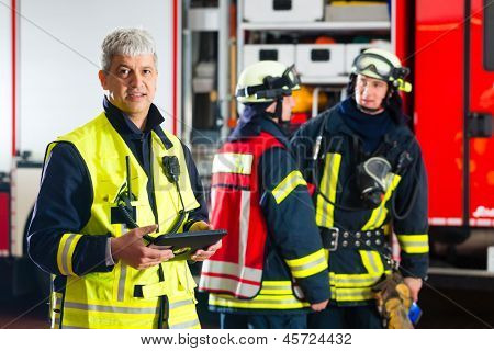 Fire brigade - Squad leader, he used the Tablet Computer to plan the deployment and looking at the viewer