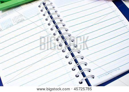 Open notebook. Stationery Business stationery object.