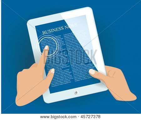 Tablet pc in hands with news page. Vector eps10 illustration.