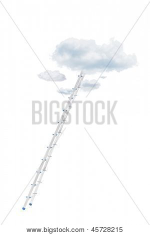 Metal ladder and clouds isolated against white background
