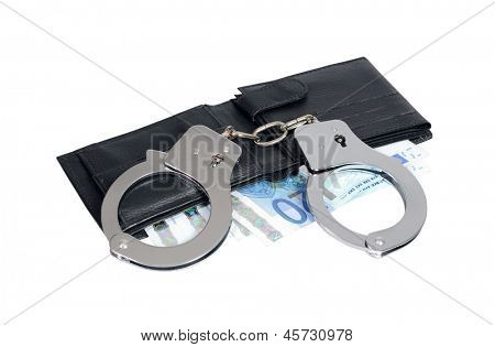 Black leather wallet with handcuffs isolated over white, clipping path included.