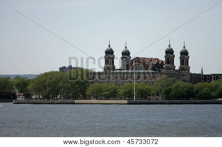 NEW YORK - MAY 17: Ellis Island is shown on May 17, 2013 in New York. The island was the gateway for millions of immigrants to the United States from 1892 until 1954.