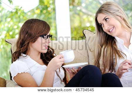 Two beautiful women having conversation drinking coffee and sitting on couch