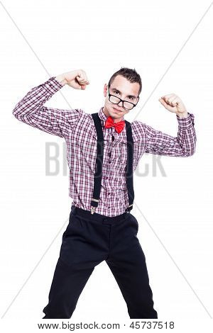 Self-confident Nerd Man