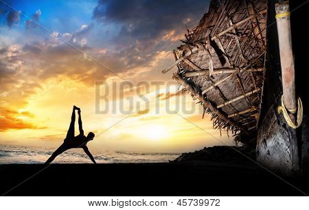 Man Silhouette Doing Yoga