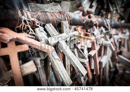 Great Number Of Various Crosses As Memorial.