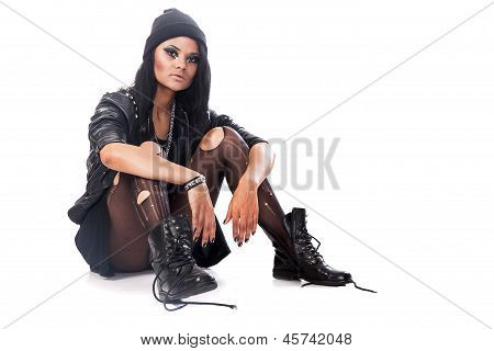 Young Woman, Depressed Teenager Wears Grunge Style Sitting On Floor