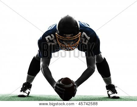 Multifunktionscenter american-Football-Spieler Mann in Silhouette Studio isolated on white background