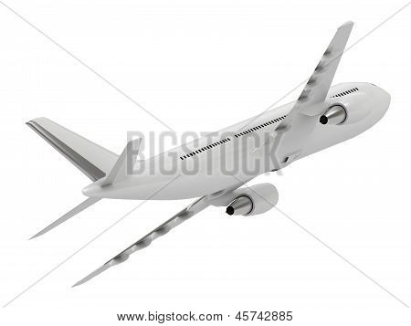 White Passenger Airliner Leaves To The Left