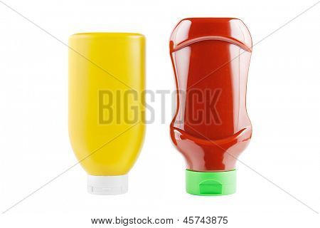 Bottles of mustard and ketchup isolated on white