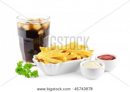 French fries with ketchup, mayonnaise and a soda with ice cubes