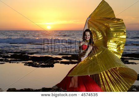 Dancing Girl On A Sea Coast