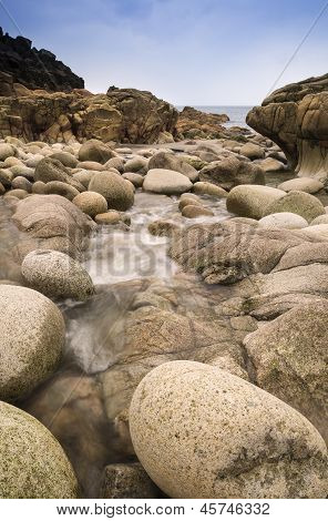 Beautiful landscape of Porth Nanven beach Cornwall England