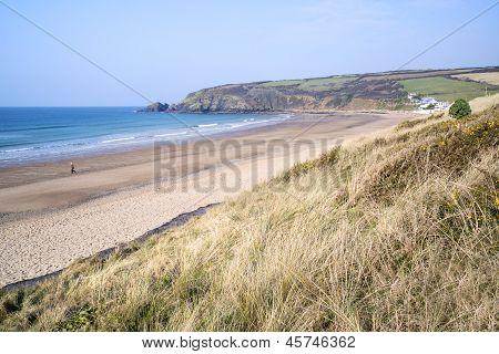 Expanse of golden beach at Praa Sands Cornwall England