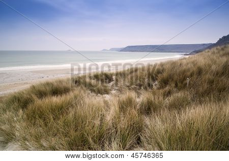 Sennen Cove beach and sand dunes