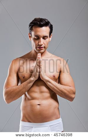 Man In Underwear Prayer Position