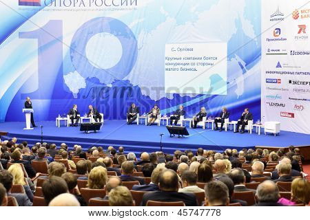 MOSCOW - NOVEMBER 14: Forum participants on stage at Forum Small Business - New Economy, dedicated to 10th anniversary of organization OPORA of RUSSIA, on November 14, 2012 in Moscow, Russia.