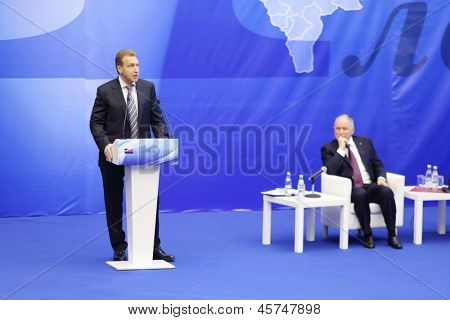 MOSCOW - NOV 14: First Vice Premier Igor Shuvalov speaks at Forum Small Business - New Economy, dedicated to 10th anniversary of organization OPORA of RUSSIA, on November 14, 2012 in Moscow, Russia.