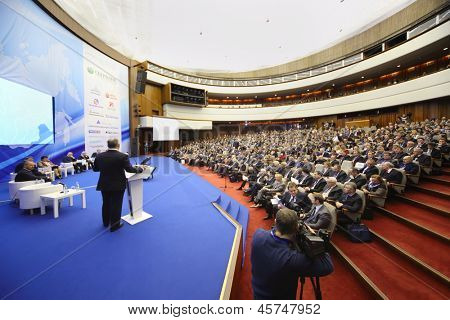 MOSCOW - NOV 14: Members of Forum on stage and audience at Forum Small Business - New Economy, dedicated to 10th anniversary of organization OPORA of RUSSIA, on November 14, 2012 in Moscow, Russia.