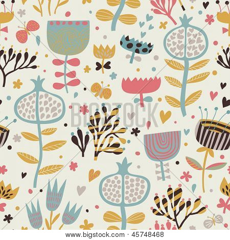 Bright summer wallpaper with flowers and butterflies. Seamless pattern can be used for wallpapers, pattern fills, web page backgrounds,surface textures. Gorgeous seamless floral background