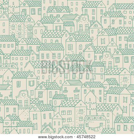 European town - concept background. Seamless pattern can be used for wallpapers, pattern fills, web page backgrounds,surface textures. Gorgeous seamless urban background