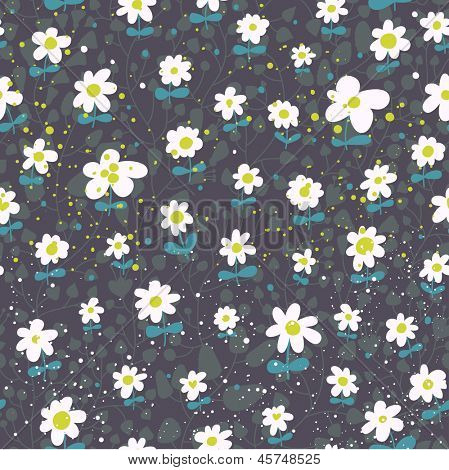 Fresh vector background made of cute chamomile. Seamless pattern can be used for wallpapers, pattern fills, web page backgrounds,surface textures. Gorgeous seamless floral background