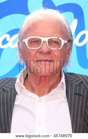 LOS ANGELES - MAY 16:  Anthony Hopkins arrives at the American Idol Season 12 Finale at the Nokia Theater at LA Live on May 16, 2013 in Los Angeles, CA