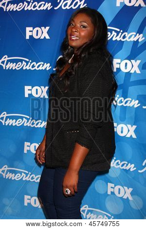 LOS ANGELES - MAY 16:  Candice Glover, Winner of American Idol Season 12 in the American Idol Seaon 12 Finale Press Room at the Nokia Theater at LA Live on May 16, 2013 in Los Angeles, CA