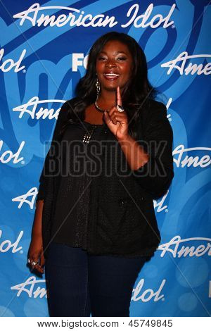 LOS ANGELES - MAY 16:  Candice Glover, Winner of American Idol Season 12 in the American Idol Season 12 Finale Press Room at the Nokia Theater at LA Live on May 16, 2013 in Los Angeles, CA
