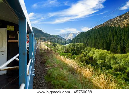 Scenic train ride in New Zealand