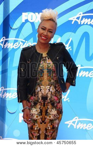 LOS ANGELES - MAY 16:  Emeli Sande arrives at the American Idol Season 12 Finale at the Nokia Theater at LA Live on May 16, 2013 in Los Angeles, CA