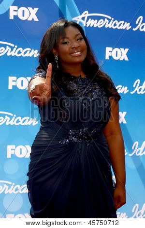 LOS ANGELES - MAY 16:  Candice Glover arrives at the American Idol Seaon 12 Finale at the Nokia Theater at LA Live on May 16, 2013 in Los Angeles, CA