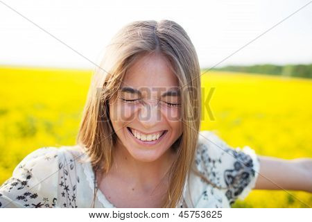 Young Woman Blinked From Pleasure
