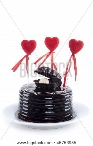 Chocolate Cake And Red Hearts