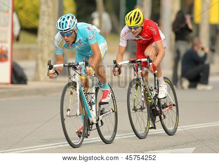 BARCELONA - MARCH, 24: Dyachenko(L) of Astana and Rudy Molard(R) of Cofidis rides during the Tour of Catalonia cycling race through the streets of Monjuich mountain in Barcelona on March 24, 2013
