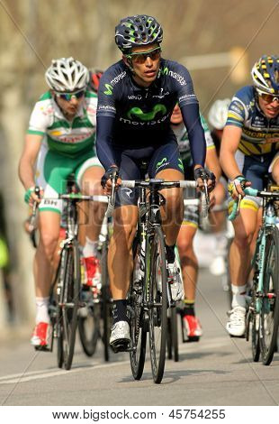 BARCELONA - MARCH, 24: Jose Herrada Movistar Team rides during the Tour of Catalonia cycling race through the streets of Monjuich mountain in Barcelona on March 24, 2013