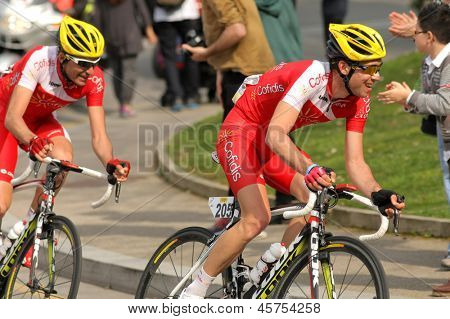BARCELONA - MARCH, 24: Nicolas Edet of Cofidis rides during the Tour of Catalonia cycling race through the streets of Monjuich mountain in Barcelona on March 24, 2013