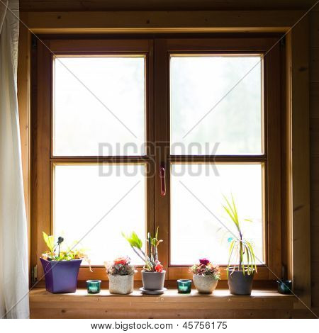 backlight of decorated wooden windows