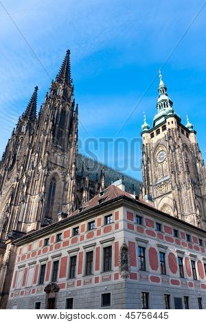View on St. Vitus cathedral in Prague Castle in Prague, Czech Republic