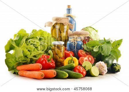 Composition With Assorted Organic Vegetables Isolated On White